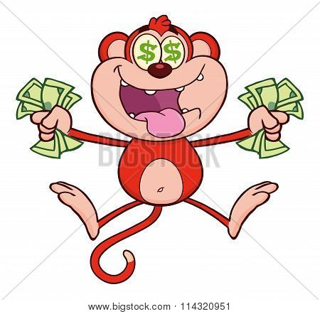Red Monkey Cartoon Character Jumping With Cash Money