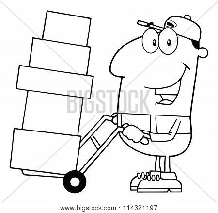 Black And White Delivery Man Cartoon Character