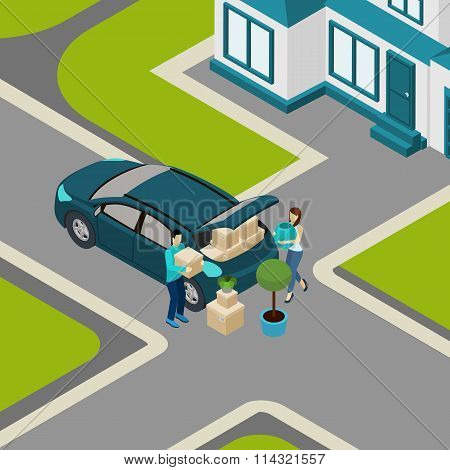 People moving From House Isometric Banner