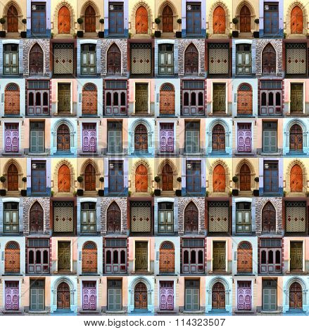A collage of front doors from Tallin, Estonia, repeated to create a seamless, tillable pattern.