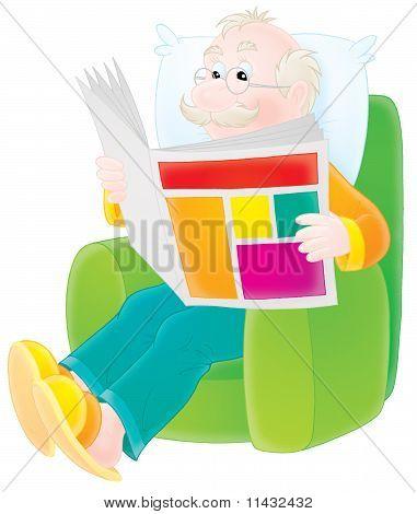 Abuelo lee un periódico