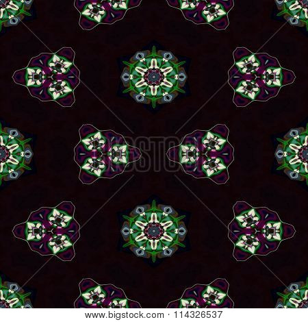 Floral cashmere fractal decorative seamless pattern
