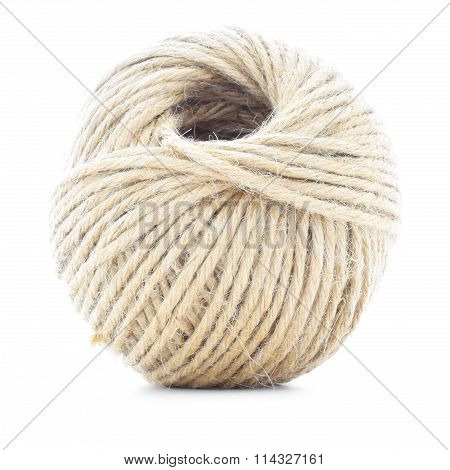 Cord Skein, Hemp Roll, Traditional Ball Isolated On White Background