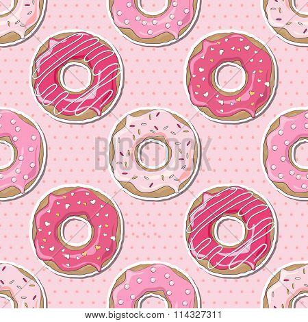 Pink donuts, decorated for Valentine's Day, over a pink polka dot seamless background.