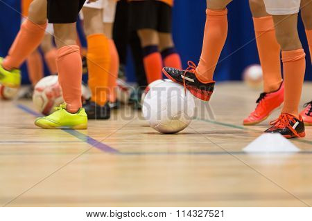 indoor soccer futsal training session