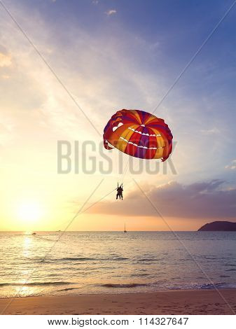 Paragliders At Sunset, Summer Adventure Concept.