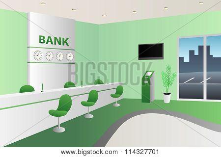 Interior bank room white reception green chair illustration vector