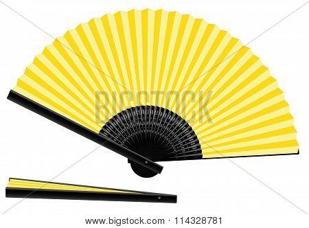 Hand Fan Yellow Open Closed