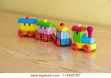 Wooden Toy Train With Colorful Blocs
