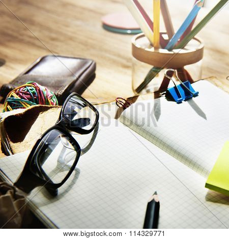 Adhive Note Cluttered Objects Office Working Station Concept