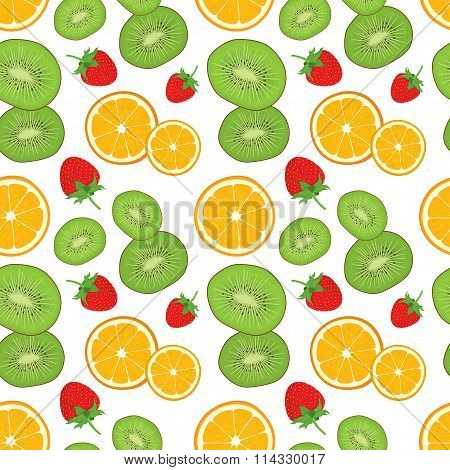 Seamless background with fresh green kiwi, orange slices and strawberry. Vector illustration