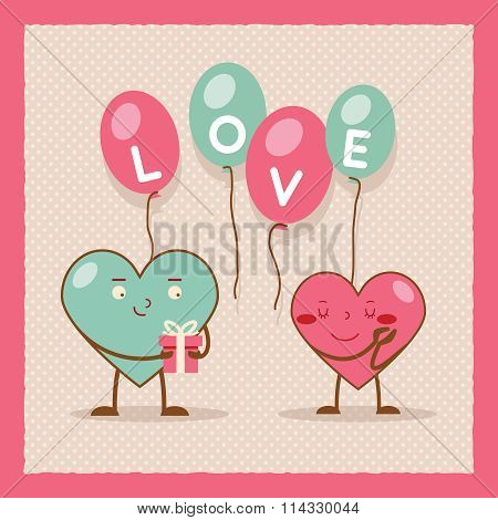 Valentines day Heart Gift Boy Girl Icon Flat Design Poster Template Vector Illustration