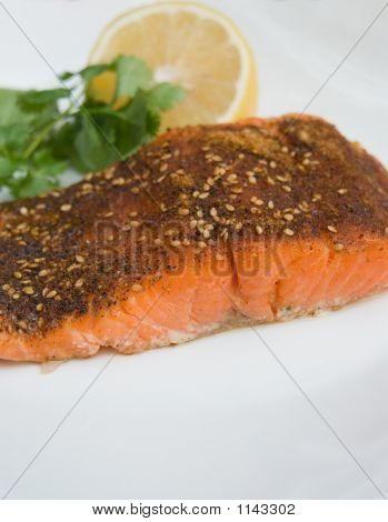 Grilled Salmon Cajun Spiced Fillet With Lemon And Cilantro