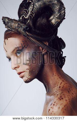 Portrait of beautiful woman & scorpion