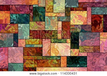 A Cubist Abstract Background with Squares and Grunge Texture