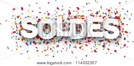 White sale french sign over confetti background. Vector holiday illustration.