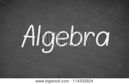 Algebra lesson on blackboard or chalkboard.