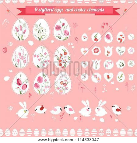 Easter eggs and floral elements. Objects for easter design, announcements, greeting cards, posters, advertisement.