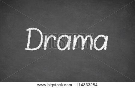 Drama lesson on blackboard or chalkboard.