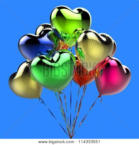 Collor balloons in the shape of heart for celebration