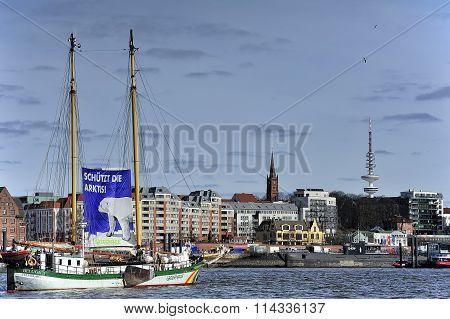 Sailing Ship Beluga Ii (greenpeace) On Elbe River, Hamburg, Germ