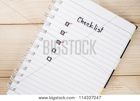 Checklist On Notebook