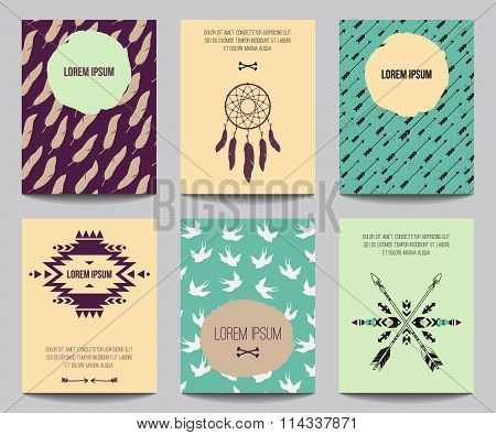 Vector Set Of Modern Posters With Tribal Elements: Ethnic Ornaments, Arrows, Dream Catcher, Feathers