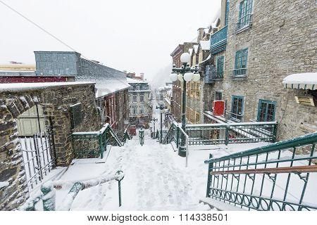 Deserted street in Quebec City Champlain