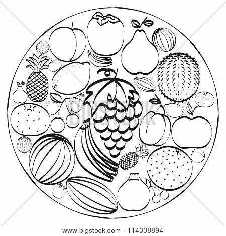 A Set Of Hand-drawn Icons Fruits Inscribed In A Circle. Black And White Concept.