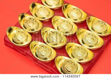 Gold Ingot Of China In The Chinese New Year Festive