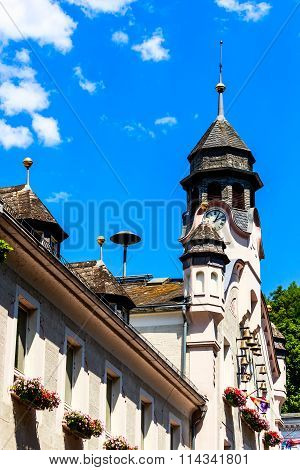 Old Town Hall with chimes in Bad Ems, Germany