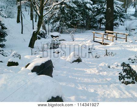 Frozen River In Volkspark Friedrichshain, Berlin, Germany