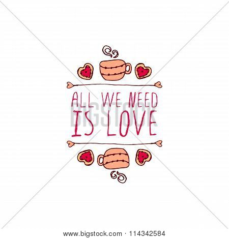 Vector handdrawn badge for Saint Valentine's day