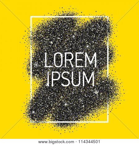 Vector black dust with white vector frame on yellow background. Trendy abstract background ready for your design.