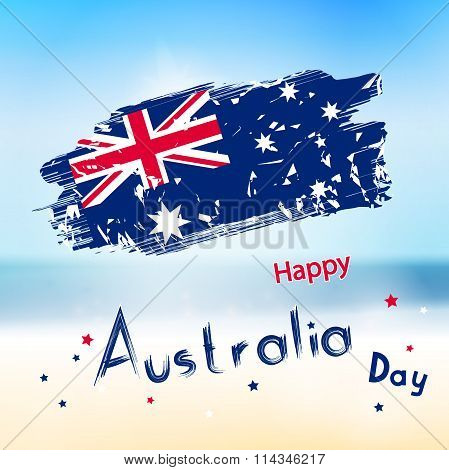 Australia Day With Grange Flag On Blur Background. Sea And Ocean