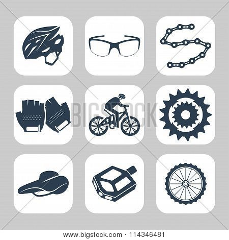 Biking Related Vector Icon Set. Vector Symbols. Vector Illustration