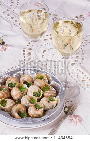 White Wine And Grape Snail