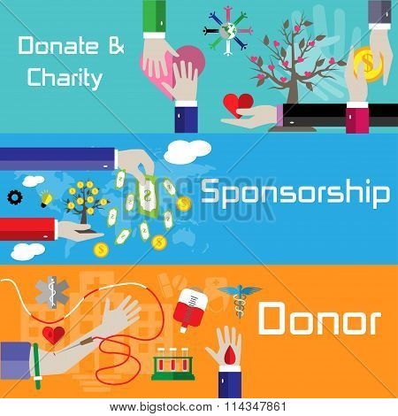 Flat Style Charity, Sponsorship And Donor Banners
