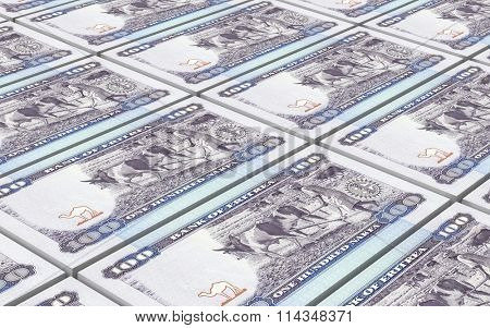 Eritrean nakfa bills stacked background. Computer generated 3D photo rendering.