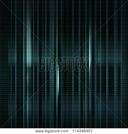 Dark Blue Blurred Background With Binary Code In Vector.