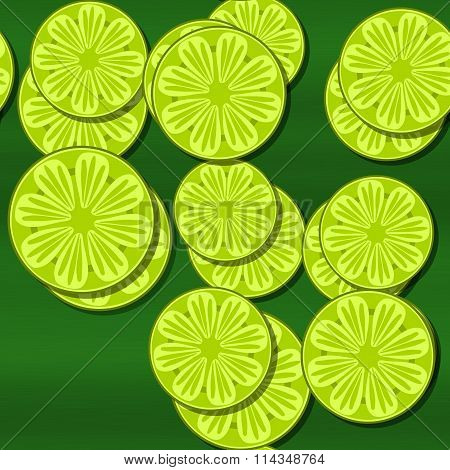 Decorative optimistic yellow green seamless pattern with cartoon stylized lemon or lime citrus motif