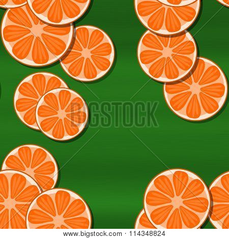 Decorative orange green seamless pattern with cartoon stylized tangerine or pomelo citrus motive