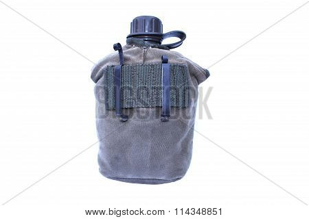 Army Water Canteen On Isolated