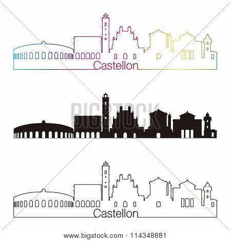 Castellon Skyline Linear Style With Rainbow