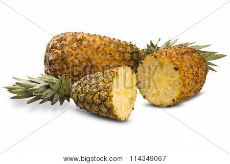 Some Pineapples Over A White Background.