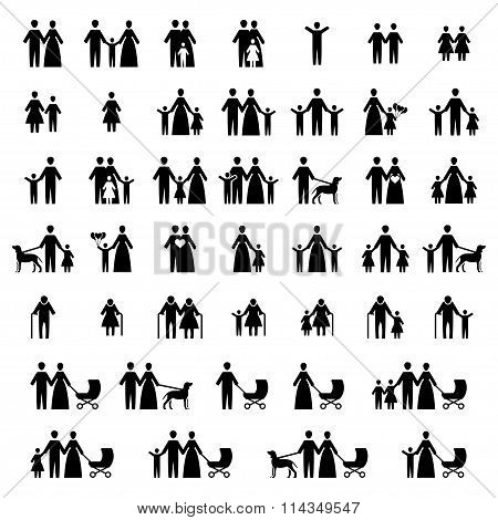 Family Vector Icon Set. Vector Symbols. Vector Illustration