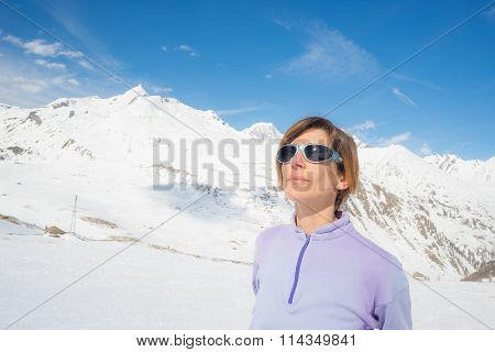 Female Alpinist Watching The Sun