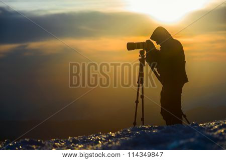 Photographer Silhouette  Mountains