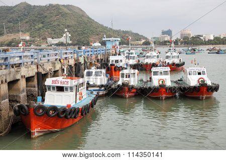 VUNG TAU, VIETNAM - December 16, 2015: Fishing boats in the port of Vung Tau