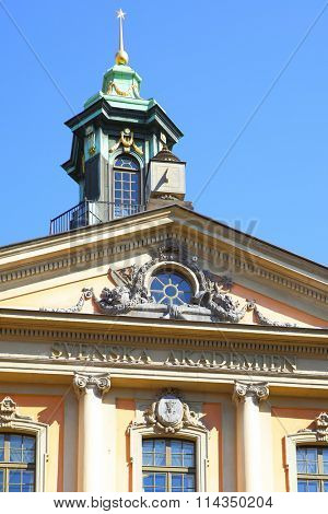 STOCKHOLM, SWEDEN - May 21, 2015: Building of Swedish Academy (Svenska Akademien) and Nobel Museum in Stockholm